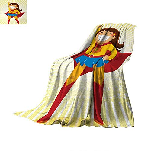 Anhuthree Superhero Super Soft Lightweight Blanket Courageous Little Girl with a Big Smile in Costume Standing in a Heroic Position Summer Quilt Comforter 62