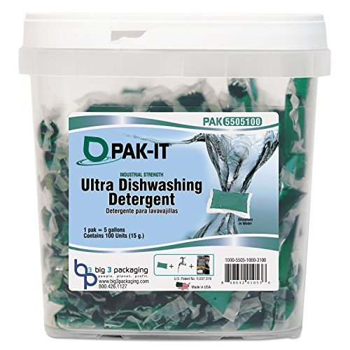 Ultra Dish Detergent, Lemon Scent, 100 Paks/Tub, 4 Tubs/Carton, Sold as 1 Carton, 4 Each per Carton by PAK-IT