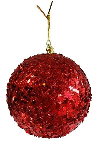 6 red glitter christmas ornaments pack