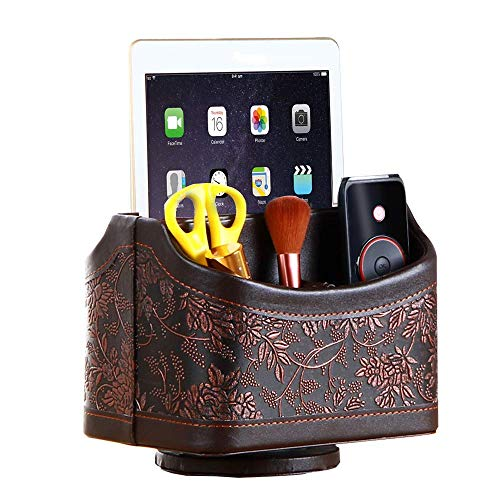 YAPISHI Remote Control Holder, Spinning Desk Organizer Leather Storage Caddy for TV Remote Controllers/Media/Guide/Mail/Books (Brown Embroidery) ()