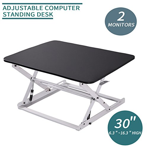 Ergonomic 30'' Wide Preassembled Height Adjustable Standing Desk Riser/ Stand Workstation Elevating Desktop Removable Keyboard Tray, Black and White by LAZYMOON