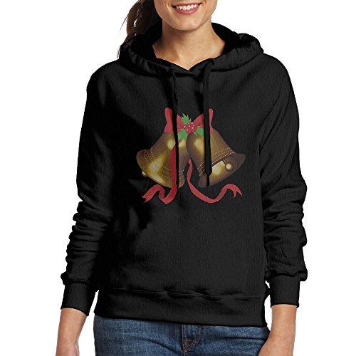 CSECGAR Merry Christmas Bell Women's Pullover Hoodie Sweatshirts L Black