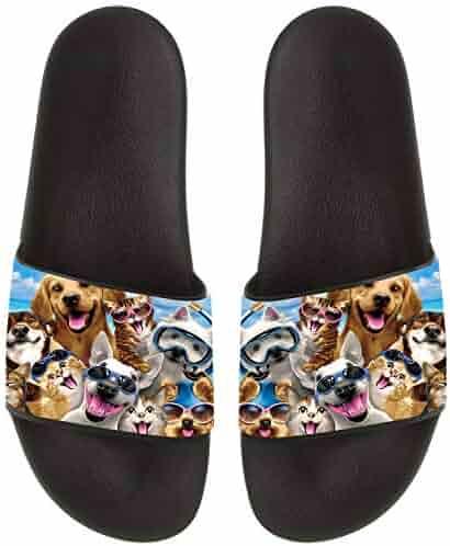 78a3c00fde21 Dogs and Cats Beach Party Selfie Summer Slide Slipper for Men Women Kid  Casual Open-