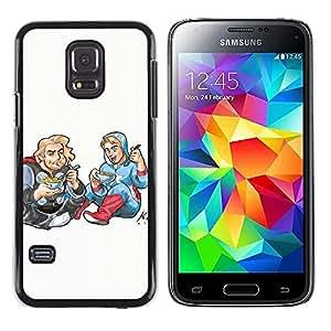TECHCASE**Cubierta de la caja de protección la piel dura para el ** Samsung Galaxy S5 Mini, SM-G800, NOT S5 REGULAR! ** Drawing Art Kids Food Street Style Blonde