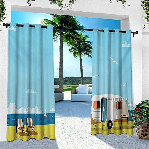 leinuoyi Seaside, Outdoor Curtain Panels Set of 2, Illustration of Summertime Caravan Coastline Clouds Seagulls Scenery Print, Fashions Drape W96 x L96 Inch Aqua Navy Yellow ()