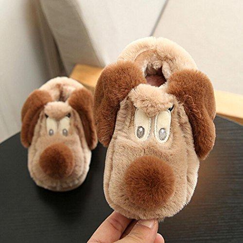 Pulison (tm) Inverno Bambini Pantofole Ragazzi Ragazze Cotone Ovini Bambini Al Coperto Scarpe Calde Marrone