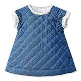 Petit Bateau Baby-Girls Newborn Quilted Denim Dress, Blue, 6 Months