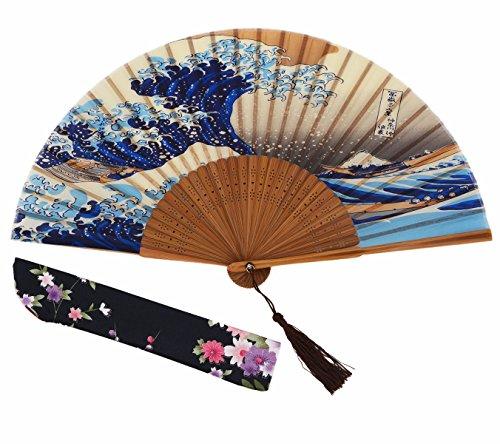 Amajiji 8.27″ (21cm) Hand-crafted Japanese-style Folding Fan,Woman Retro Silk Fan Bamboo Rib Handicraft Fan Gift Fan Dance Fan Wedding Fan