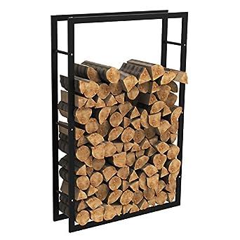 MCTECH® - Estante metálico para leña de chimenea, soporte para leña, alojamiento para guardar leña, 150*100*25cm: Amazon.es: Amazon.es