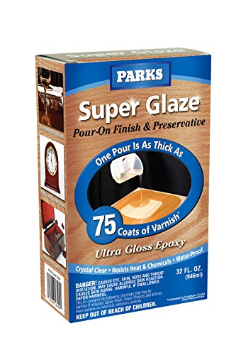 - Rust-Oleum Parks Super Glaze, 241352 Ultra Glossy Epoxy Finish and Preservative Kit, Clear 32 Fl Oz