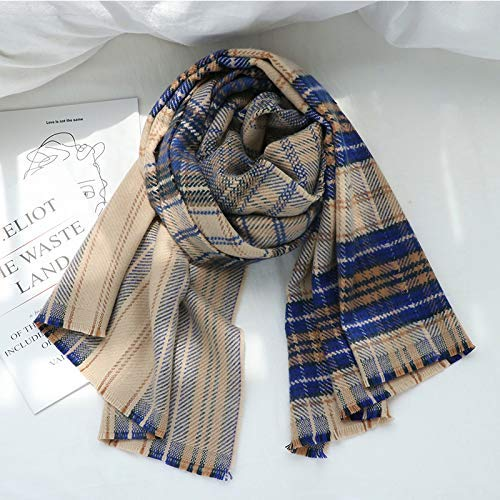 bluee Long Scarf Plaid scarf female wild students autumn and winter thick British wind shawl (color   bluee) Fashion Scarf