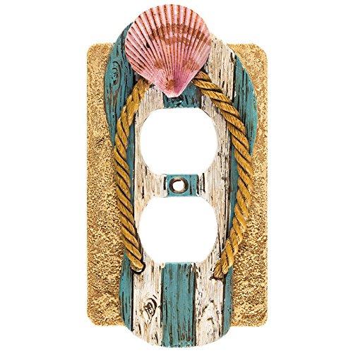 Flip Flop Outlet Cover - Nautical Decor - Beach Cottage Decor Sea Shells (Cottage Beach Decor Nautical)