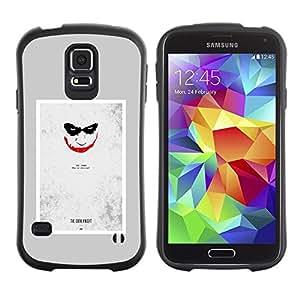 """Hypernova Slim Fit Dual Barniz Protector Caso Case Funda Para Samsung Galaxy S5 [Scary Face Sonrisa espeluznante del cartel""""]"""