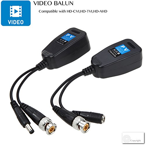 VIMVIP HD-CVI/TVI/AHD Passive Video Balun with Power Connector and RJ45 CAT5 Data Transmitter 1 Pair