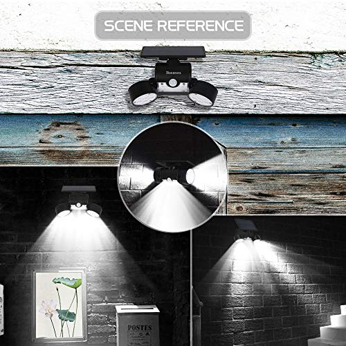 OUKANING Solar Lights Outdoor Motion Sensor Solar Garden 30 LED Super Bright with Solar IP65 Waterproof Wall Lamp Outdoor Lamps 360 ° Rotatable Dual Headlight for Garage