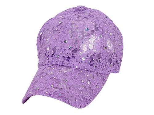 (Sequin Lace Glitter Adjustable Baseball Cap - Lilac)
