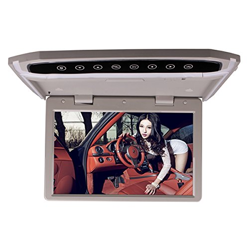12.1 Inch Car Roof Mounted Overhead Flip Down MP4 MP5 Video Multimedia Player LED HD Monitor Screen with HDMI SD AV Input 16GB Card + Card Reader Grey Color by HitCar