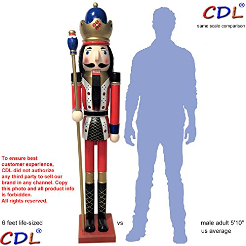 CDL 6ft tall life-size large/giant red Christmas wooden nutcracker king ornament on stand holds golden scepter for indoor outdoor Xmas/event/ceremonies/commercial decoration(6 feet, king red k11)