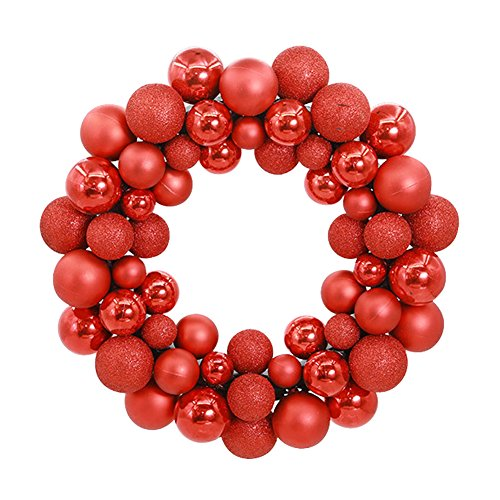 Aimeart Glittery Christmas Balls Wreath Garland Ornaments Christmas Tree Orbs Mardi Gras Balls Arcades Small Decorations for Wedding Party or Anniversary; 3 special finishes: Shiny, Matte, Glitter (Wreath Red Ornament)