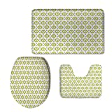 Fashion 3D Baseball Printed,Ikat Decor,Abstract Round Oriental Asian Ancient Traditional Exotic Islamic Ikat Patterns Home,Green White Grey,U-Shaped Toilet Mat+Area Rug+Toilet Lid Covers 3PCS/Set