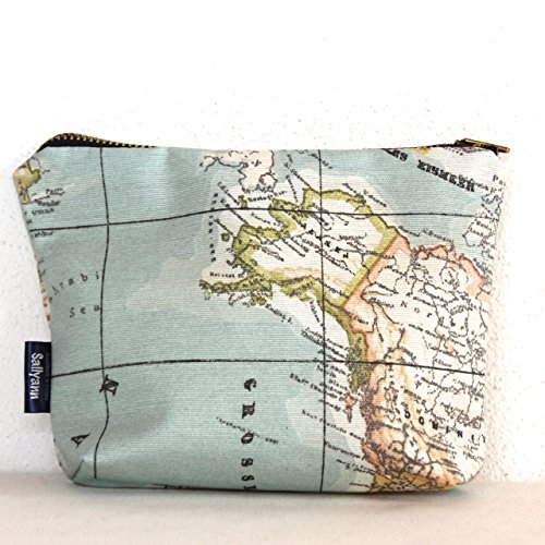 Retro Map Print Teflon-Coated Cotton Coin Pouch Change Purse Make Up Purse