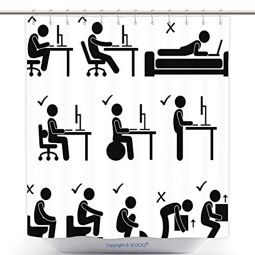 Ideas Bad Costume Blood (Mildew Resistant Shower Curtains Ia Set Of Human Pictogram Representing The Good And Bad Posture While Sitting In Front Of A Compute Polyester Bathroom Shower Curtain Set With)