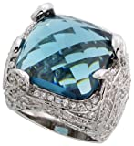 Sterling Silver Cocktail Ring, Rhodium Plated w/ a Large (16mm) Natural Blue Obsidian & Cubic Zirconia Stones, 9/16'' (21mm) wide, size 8
