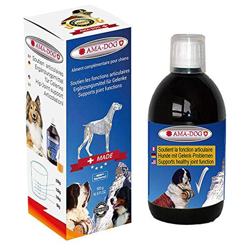 AMA-DOG Omega 6 and MSM Pet - Natural Well-Tolerated Vitamins and Joint Supplement for Dogs, Omega-6s, EFAs and GLA Supports Skin, Coat, Joint,Immune System and Metabolism, Liquid Form 16.9 Oz