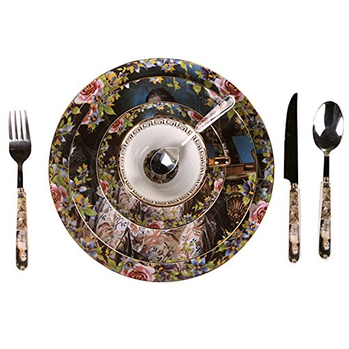 NDHT Retro Ceramic 8-Pcs Green Camellia Dinnerware Set dinner set with dinner plates, salad plates,dinner knife,dinner fork,tea Cup,Saucer,coffee Spoon,dinner Spoon,8 pcs,with Gift Box