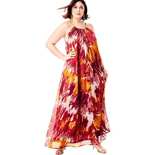 Roamans Women's Plus Size Swing Maxi Dress in Crinkle Chiffon - Berry Tie Dye, 18 W ()