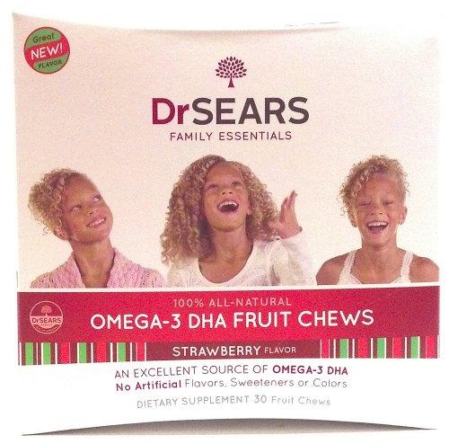 Dr Sears Family Essentials 100% naturel oméga-3 DHA à mâcher aux fruits saveur de fraise sans arômes artificiels ou édulcorants Couleurs Dietary Supplement 30 bouchées de fruits (1 pièce)