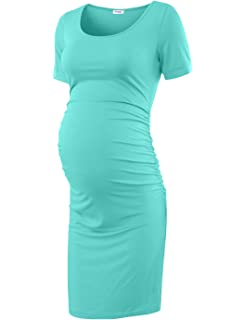 75b50f8cd80ce Peauty Bodycon Maternity Dress, Casual Pregnancy Clothes Cotton Ruched Sides