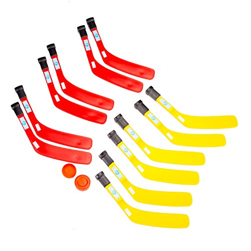Cosom Scooter Board Plastic Hockey Set and Knee Hockey Set for Kids, Carpet Hockey, Hockey on Wheels, Physical Education Equipment, with 12 Short Handled Plastic Sticks, 1 Ball, 1 Puck ()