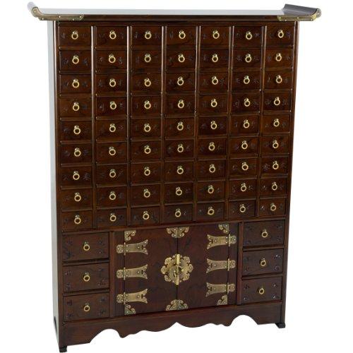 Oriental Furniture Korean Antique Style63 Drawer Apothecary (Nine Apothecary Drawers)