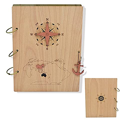 Giftgarden Columbus's Voyage 5x7 Nautical Photo Album 120 Pockets Wood Photo Book Holds 5 by 7 inch - Wood Photo Album Book