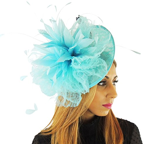 Hats By Cressida Ladies Large Wedding Races Ascot Derby Fascinator Headband Turquoise by Hats By Cressida