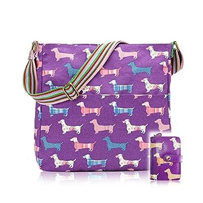 Ladies Girls Kids Dachshund Sausage Dog Print Crossbody Bag (Purple) - more-bags