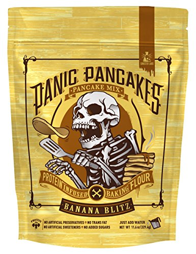 - Panic Pancakes Banana Blitz Complete Pancake & Waffle Mix by Sinister Labs - Sweet fruity flavor with whole grain oat flour and 20g protein per serving - No Added Sugar - 11.5 oz bag (1-Pack)