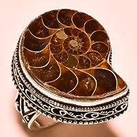 Siam panva 66 Cts zebra Color Unique Natural Ammonite Fossil Vintage Silver Ring Size 7 8 9 (8)