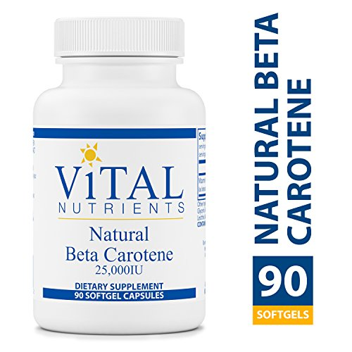 Vital Nutrients - Natural Beta Carotene 25,000 IU - Precursor to Vitamin A - Antioxidant - Vision, Skin, & Reproductive Health Support - 90 Softgel Capsules per Bottle