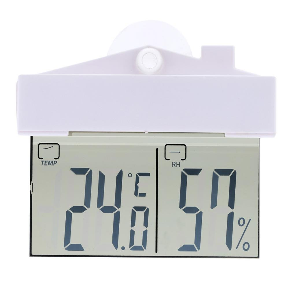 Flameer LCD Digital Window Sucker Thermometer Hygrometer Temperature Humidity Meters