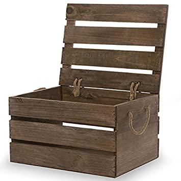 The Lucky Clover Trading Antique Wood Crate Storage Box with Swing Lid,  Brown