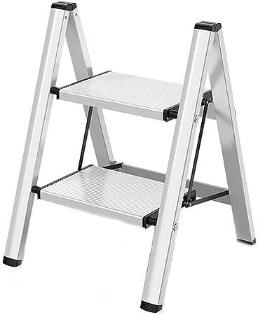 HomeLadder Pequeño Plegable de 2 Pasos, Escalera Portátil de Aleación de Aluminio para Soporte de Flores, Escalera Ligera con Pedal Widen (Color : White): Amazon.es: Hogar