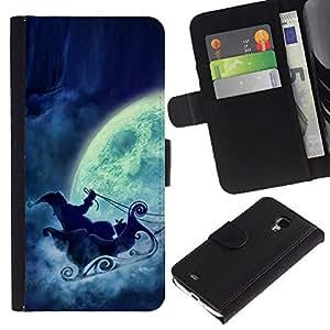 KingStore / Leather Etui en cuir / Samsung Galaxy S4 Mini i9190 / Papá Noel Luna Llena trineo
