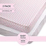 Crib Sheet Set   Toddler Sheet Set 2 Pack 100% Jersey Cotton for Baby Girl Pink Chevron and Polka Dots by Elys & Co