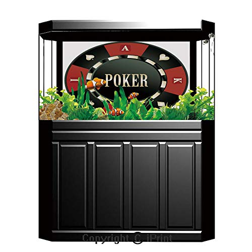 Blue Wallpaper Sticker Background Decoration,Poker Tournament,Casino Chip with Poker Word in Center Rich Icon Card Suits Decorative,Army Green Vermilion White,Artistic Portrait Photo Studio Props Vide ()