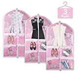 Pink Clear Garment Bag with Pockets Set, Visible Dance Costume Bags 38' for Dance Competitions, Travel, Storage Closet, Suits, Children Dress, Coat, with 4 Medium Zipper Pockets, 1 Large Zipper Pocket
