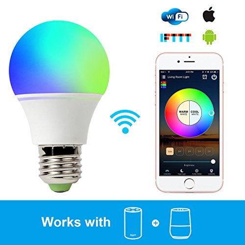 Smart Light Bulb Work with Alexa, RGB 45W WiFi Bulb Assistant for Amazon Echo and Google Home. Multicolor, Dimmable,No Hub Required, CE/FCC/UL Listed by GeekDigg