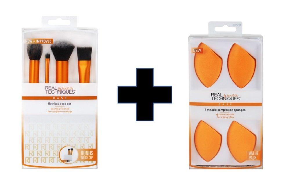Real Techniques Flawless Base Plus Miracle Complexion Sponge Value Set Set of One Makeup Brush Plus Four Makeup Blender Sponges Paris Presents Incorporated