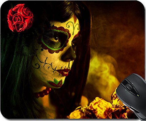 MSD Natural Rubber Mousepad Mouse Pads/Mat design: 10546187 Artistic shot of sugar skull girl with dead roses selective focus on -